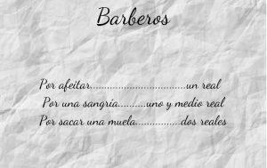 Texto de los honorarios por las tareas de los barberos