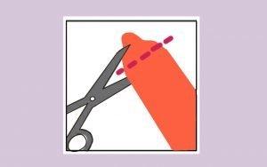 Imagen indicativa de como cortar un preservativo